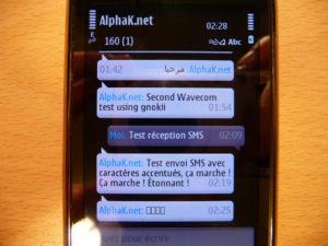 Les messages envoyés par le shell sont reçus sur le mobile, et plus ou moins bien affichés en fonction du jeu de caractères constituant chacun d'entre eux.